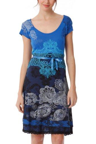 Desigual Paris - Vestido de manga corta para mujer, color Azul (Azafata), talla 36 (talla fabricante: DE S / FR M)