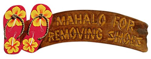 Hand Painted Wooden Sign Mahalo for Removing Shoes Red Flip Flop Wall Sign
