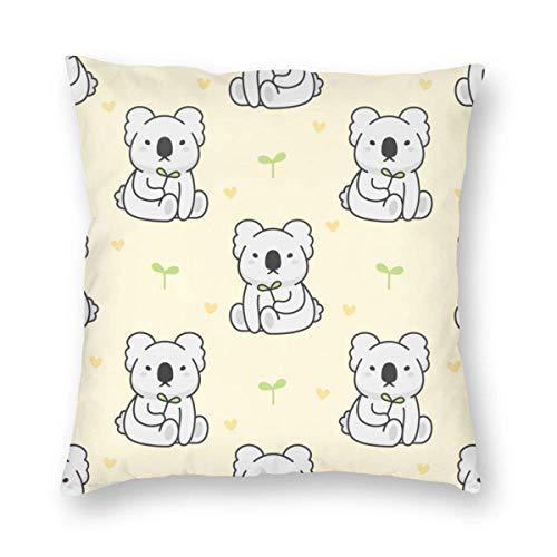 Funda de Almohada Impresa con diseño de Dos Lados, Bonita Funda de cojín Cuadrada con diseño de Koala para sofá, decoración del hogar