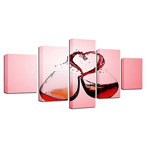 TIANJJss 5 foto's op canvas met HD bedrukte moderne thuisdecoratie canvas schilderij 5 panelen wijnglazen rood muurkunst modulair beeld woonkamer