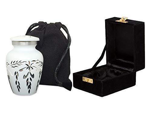Mini-Urne, weiß, mit handgefertigter Samtbox und Tasche, ideal für Erwachsene und Kleinkinder