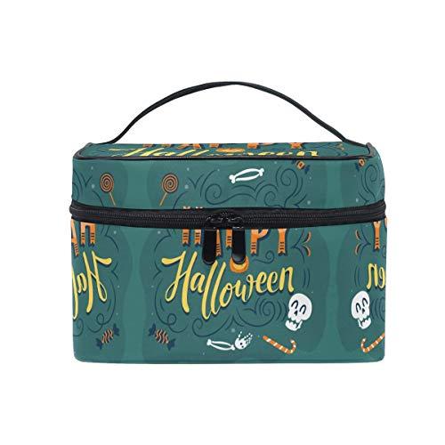 Halloween Art Happy Skull Cosmetic Bag Organizer Cremallera Bolsas de Maquillaje Bolsa Estuche de Aseo para niña Mujer