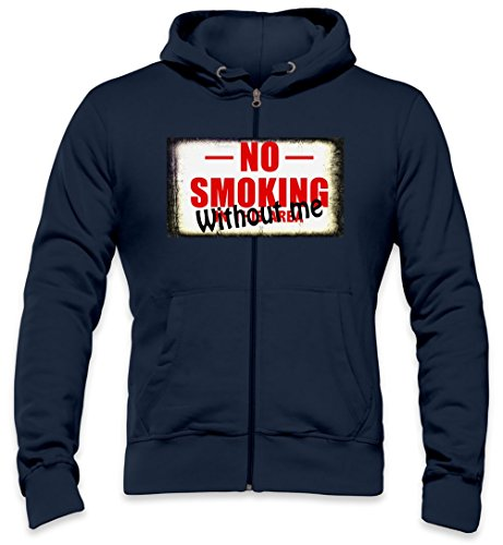 No Smoking Without Me Funny Slogan Mens Zipper Hoodie X-Large