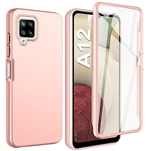 ivencase Funda Compatible con Samsung Galaxy A12, 360 Grados TPU Protectora Cover, Protector de Pantalla Incorporado Carcasa - Oro Rosa