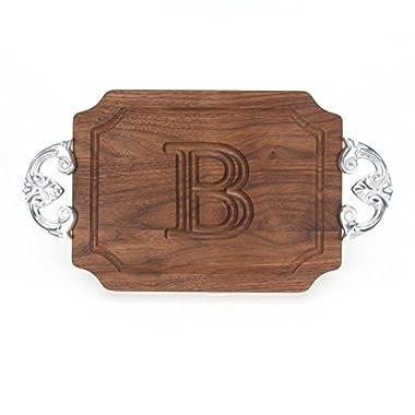 BigWood Boards W300-CL-B Cutting Board with Handles, Monogrammed Wedding Gift Cutting Board, Small Cheese Board, Walnut Wood Serving Tray,B