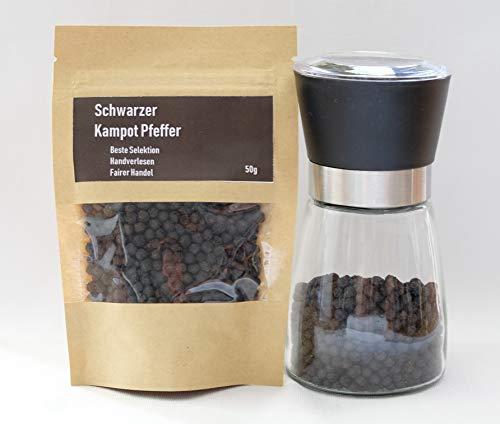 50g Echter Schwarzer Kampot Pfeffer - Direktbezug - Premium Qualität - Fairer Handel - Black Kampot Pepper