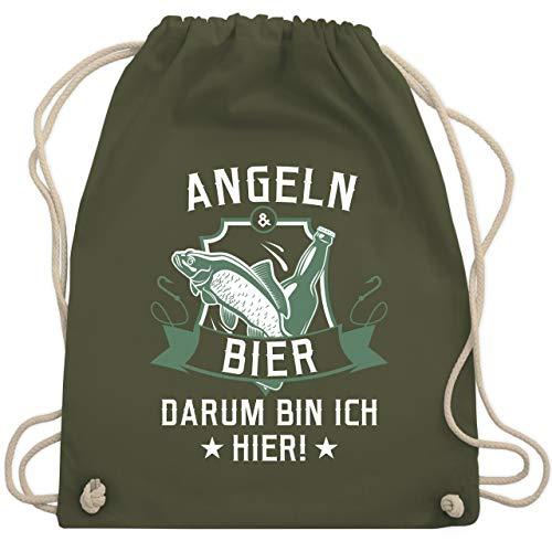 Shirtracer Angeln - Angeln und Bier - Unisize - Olivgrün - adventskalender für angler - WM110 - Turnbeutel und Stoffbeutel aus Baumwolle