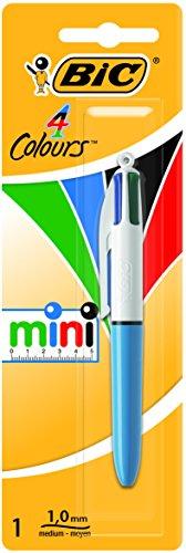 BIC 4 Couleurs Mini Stylo-Bille Rétractable Pointe Moyenne (1,0 mm) - Blister de 1