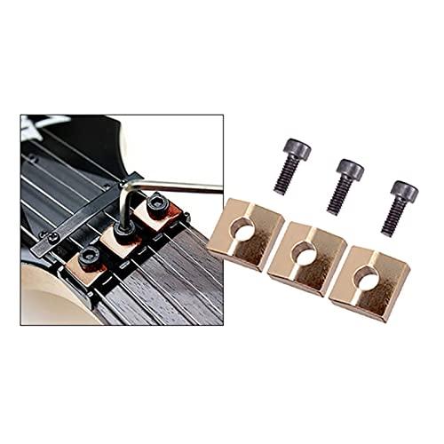 3 PCS Guitarra de Bloqueo de Tuerca con Tornillos Piezas de Puente de Guitarra eléctrica para Accesorios de Puente Tremolo (Color : Golden)