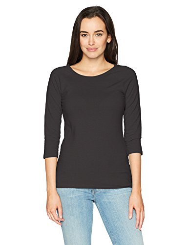 Hanes Women's Stretch Cotton Raglan Sleeve Tee, Black, X Large