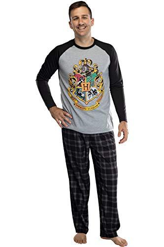 INTIMO Harry Potter Adult Men's Raglan Shirt and Plaid Pants Pyjama Set