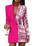 Onsoyours Blazer Mujer Chaqueta de Traje Americanas Elegante Casual Otoño Slim Fit Oficina Negocios Abrigo B Rosa XL