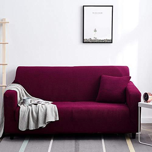 Fsogasilttlv Schonbezug Sofa,Einfarbige elastische Sofabezug für Wohnzimmer rutschfeste, Dehnbare Schonbezug Couch Sesselbezug-Deep Purple 2-Sitzer 145-185 cm1 pcs