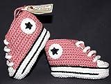 Patucos para bebé de crochet, Unisex. Estilo converse all star, de color rosa...
