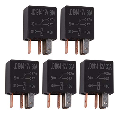 Ehdis 5 Piezas Relé para Coche 12V 30A 5 Pin, SPDT Multiusos relé Heavy Duty relé estándar, contactor de relé Interruptor de alimentación, de los detectores magnéticos y Entrantes, Paquete de