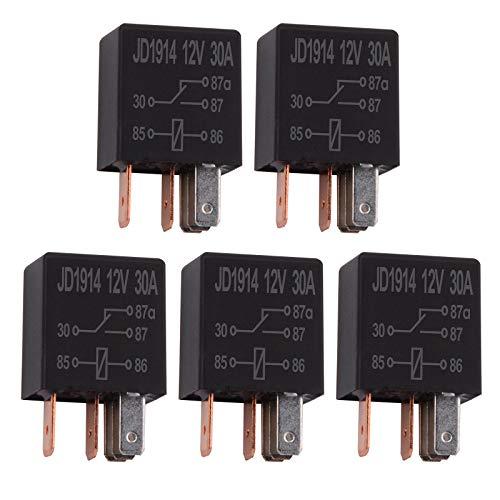 Ehdis 5 Piezas Relé para Coche 12V 30A 5 Pin, SPDT Multiusos relé Heavy Duty relé estándar, contactor de relé Interruptor de alimentación, de los detectores magnéticos y Entrantes, Paquete de 5