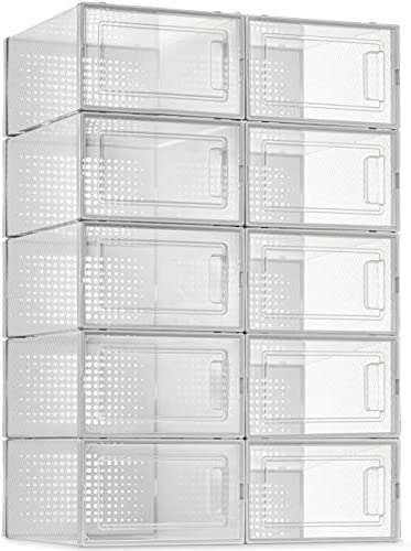 10 Pack Shoe Storage Boxes Clear Plastic Stackable Shoe Organizer Bins Drawer Type Front Opening product image
