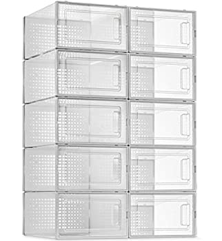 10 Pack Shoe Storage Boxes Clear Plastic Stackable Shoe Organizer Bins Drawer Type Front Opening Sneaker Shoe Holder Containers