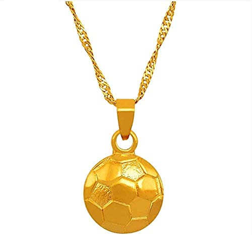LBBYMX Co.,ltd Collar Moda Deportes fútbol Collar Colgante Oro Color fútbol joyería Mujer niña