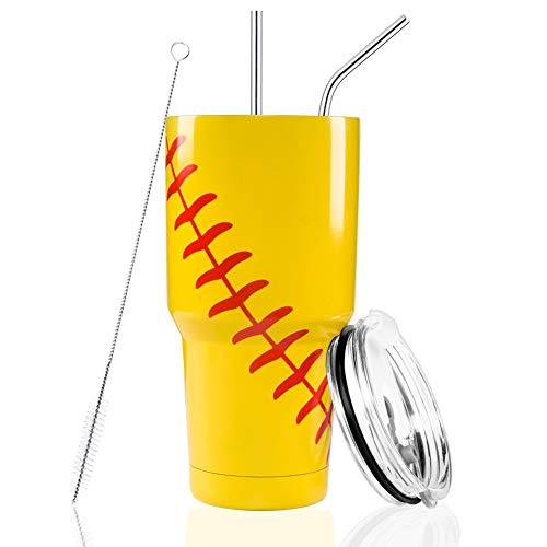 Joyclub 30oz Tumbler Double Wall Stainless Steel Vacuum Insulated Tumbler Cup Travel Mug with Lid, Straw and Cleaning Brush for Coach (Softball)