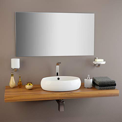 glasshop24 Badezimmer-Spiegel Wandspiegel Bad-Spiegel Silber | Spiegel ohne Rahmen, Spiegel zum Aufhängen mit Befestigungsset | Hochglanzpolierte Kanten | BxH 70x120 cm