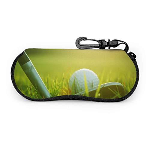 Estuche para anteojos, palo de golf borroso Pelota de golf Cierre para gafas de sol Estuche blando Estuche para anteojos con cremallera de neopreno ultraligero con mosquetón, Estuche para anteojos do