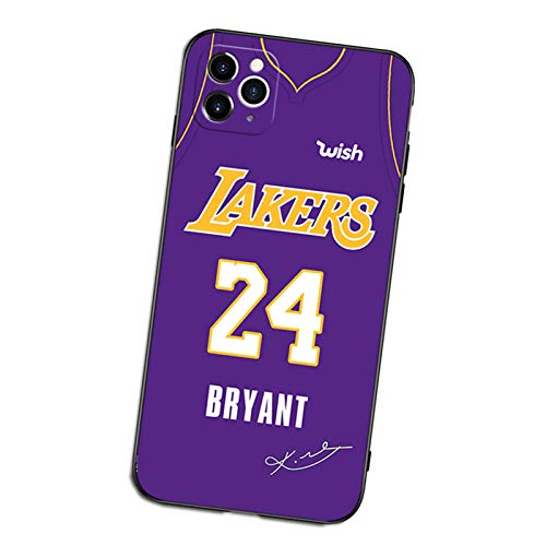 Kobe Funda para iPhone X/XS, XR, XS Max, 7/8 11 12 Series, TPU Material esmerilado suave funda protectora estilo Jersey Lakers F- XR
