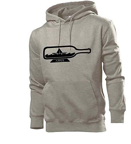 Generisch Papierschiff En Botella Hombre Sudadera con Capucha Sudadera - shirt84 - Gris, M