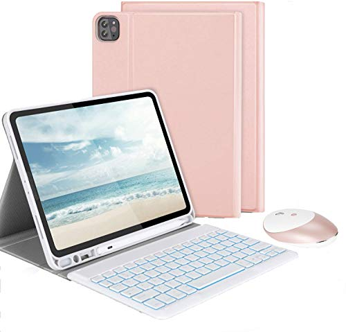 Jelly Comb Beleuchtete Tastatur Hülle mit Maus für iPad Pro 11 Zoll 2021/2018/2020 (1. / 2. /3. Generation), QWERTZ Bluetooth Tastatur mit Schützhülle und Funkmaus, Rosa Gold