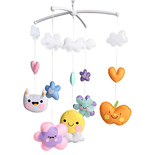 Berceau de lit de bébé rotatif coloré jouets de bébé [Jour souriant]