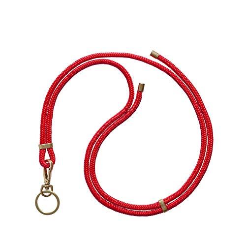KNOK Schlüsselband Anhänger mit Kordel zum Umhängen Umhängeband Handgefertigt (Rot)