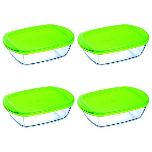 Pyrex Microwave Safe Classic Rectangular Glass Dish Vented Lid 1.1 Litre Green (Pack of 4)