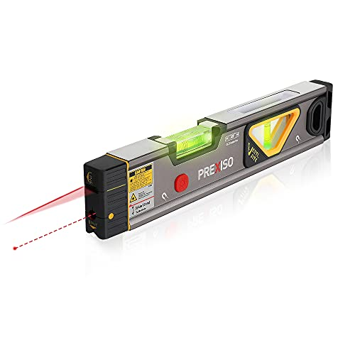 PREXISO 2-in-1 Torpedo Laser Level, 32ft Line & 98ft Point Laser Leveler Tool for Leveling and Alignment, Shock Resistant & Magnetic, with LED Lights, Ideal for Ceiling/Wall Application