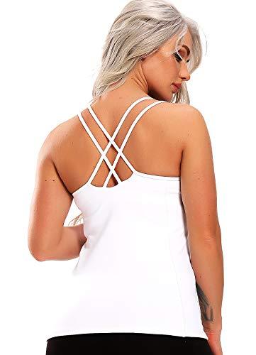 INSTINNCT Damen Sport Tops mit Integriertem BH - Cross Back 2 in 1 Yoga Gym Shirt Fitness Training Tanktop Weiß Small