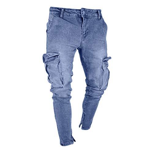 beautyjourneylove Jeans Uomo Stretti alla Caviglia,Pantaloni Jeans Skinny con Foro Distrutto Slim Fit Tascabile,Allungare Jogger Autunno Inverno Alunno Casuale Cowboy Pantaloni Handsome/Azzurro,S