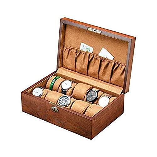 LSLS Caja joyero Caja de Madera y Cierre de Cierre a presión -Watch Mostrar Caja Reloj Box Organizador Colector - Embalaje de Regalo Organizador de Joyas