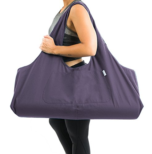 Yogiii Large Yoga Mat Bag | The Original YogiiiTotePRO | Large Yoga Mat Tote Sling Carrier with Side Pocket | Fits Most Size Mats (Imperial Purple)