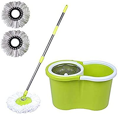 Daive Magic Dry Plastic, Steel Bucket Mop 360 Degree Self Spin Wringing with 2 Absorbers for Home and Office Floor Cleaning Mops Set (Green)