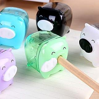 SGJFZD 10 PCS Mini Pig Manual Plastic Pencil Sharpeners Kids Friendly Office School Random Color Delivery