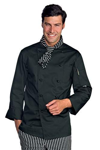 Novaplus Kochjacke Kochbekleidung schwarz langarm mit Kockjackenknöpfe Gr. S