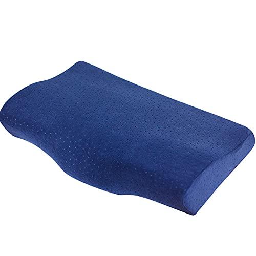 XMJM Almohada Viscoelastica Cervical, Almohada Cervical Ortopédica con Funda De Almohada Lavable para Quienes Duermen De Lado, De Espalda Y De Estómago,Azul
