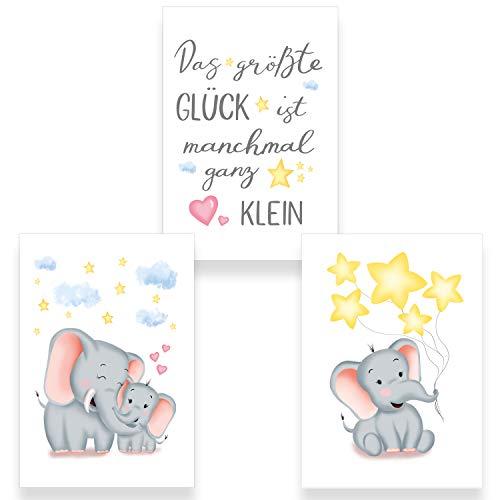 ChicResult 3er Set Wandbilder Elefant mit Spruch für Babyzimmer - Deko Poster Mädchen oder Jungen, Babybilder, Kinderposter (DIN A4 ohne Bilderrahmen)