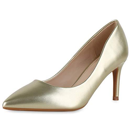 SCARPE VITA Damen Spitze Pumps Stiletto Mid Heels Klassische Business Schuhe Leder-Optik Office Absatzschuhe Elegante Abendschuhe 189659 Gold 38