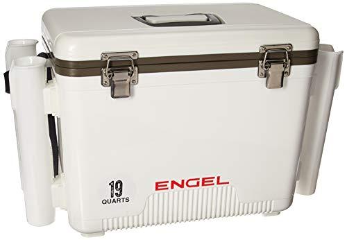 ENGEL 19 Quart Leak-Proof air-Tight drybox/Cooler with Rod Holders, White (UC19-RH)