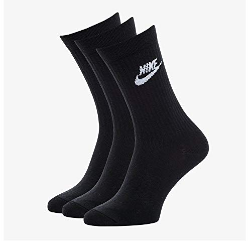 Nike U Nk NSW Evry Essential Crew, Calzini Unisex – Adulto, Black/White, L