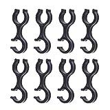 8 stücke Alpenstock Handschellen Form Clips Gehäuse Schlauchführung für Outdoor Spazierstock (Schwarz)