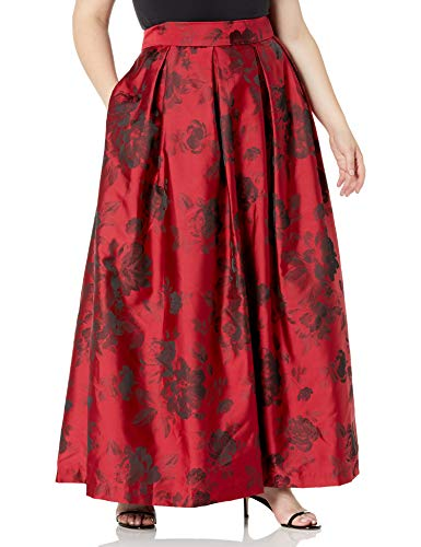 Jessica Howard Women's Size Pleated Ballgown Separate Skirt with Inset Waistband, Red/Black, 16 Plus