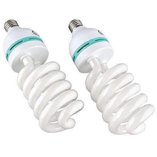 MVPOWER Fotolampe Fotoleuchte E27 Birne für Fotostudio Tageslichtlampe Glühlampe Dauerlicht Energiesparlampe Studioleuchte 2X 135W