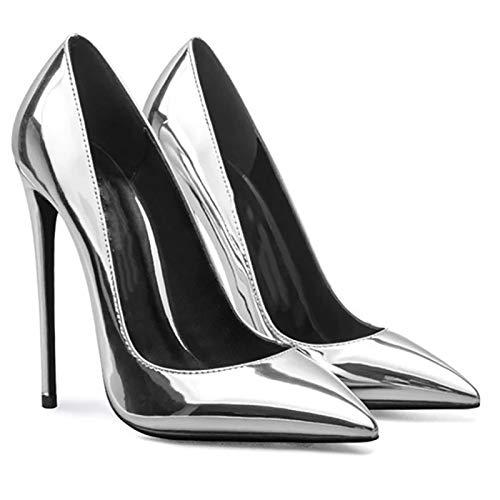 RHSMY Tacones altos para mujer, tacón de pendiente sexy para mujer, zapatos altos de charol para primavera, 12 cm (deslizamiento), zapatos individuales Asakuchi, suela de goma (33 EU, plateado)