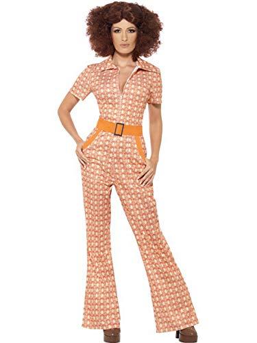 Halloweenia - Damen Frauen 70er Jahre Chic Kostüm im Flower Power Tapeten Style, Overall Einteiler Jumpsuit, perfekt für Karneval, Fasching und Fastnacht, S, Rot